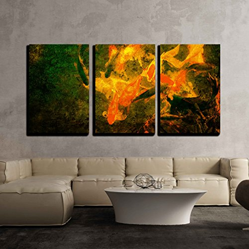 wall26 - 3 Piece Canvas Wall Art - Red Golden Fish on Grunge Background - Modern Home Decor Stretched and Framed Ready to Hang - 24