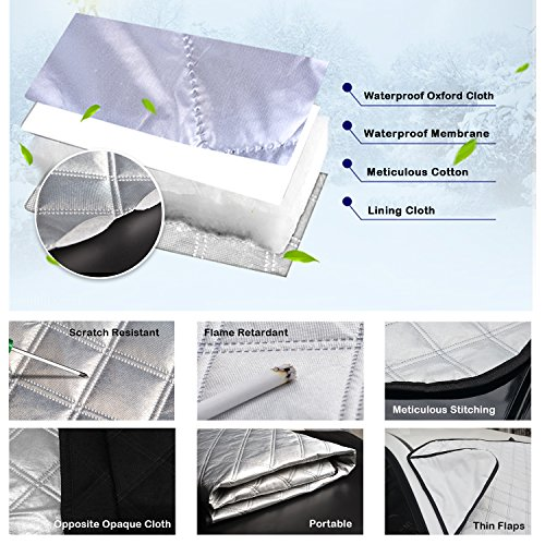55x37.4 Car Windshield Cover Snow Shield Sunshade with Wiper Protector Keep Ice Frost Snow Off UV Proof Fits Most Cars