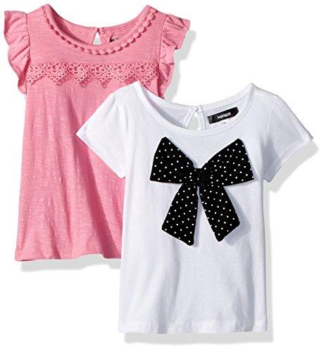 kensie Toddler Girls' 2 Pack T-Shirt, Pack Printed Bow with Solid Multi Print, 4T (Kensie Girl Printed)