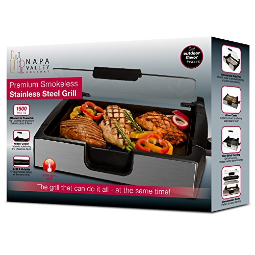 Smart Planet SIG‐4 Napa Valley Gourmet Premium Smokeless Stainless Steel Grill, Silver by Smart Planet (Image #4)