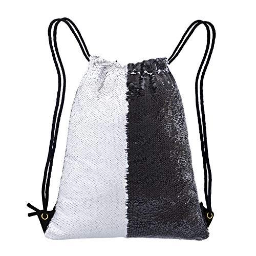 Neasyth Mermaid Sequins Drawstring Backpack, Reversible Glittering Dance Drawstring Bag Yoga Gym Gift For Girls Women kids (D-Black/White)