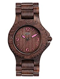 Wewood Women's Kale KALE-CHOCO-PINK Brown Wood Analog Quartz Watch with Brown Dial