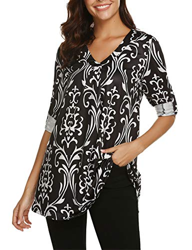 BEAUTEINE Print Blouses for Women Cuff Sleeve Top Women V Neck Shirts Pleated Tunic Top Plus Size