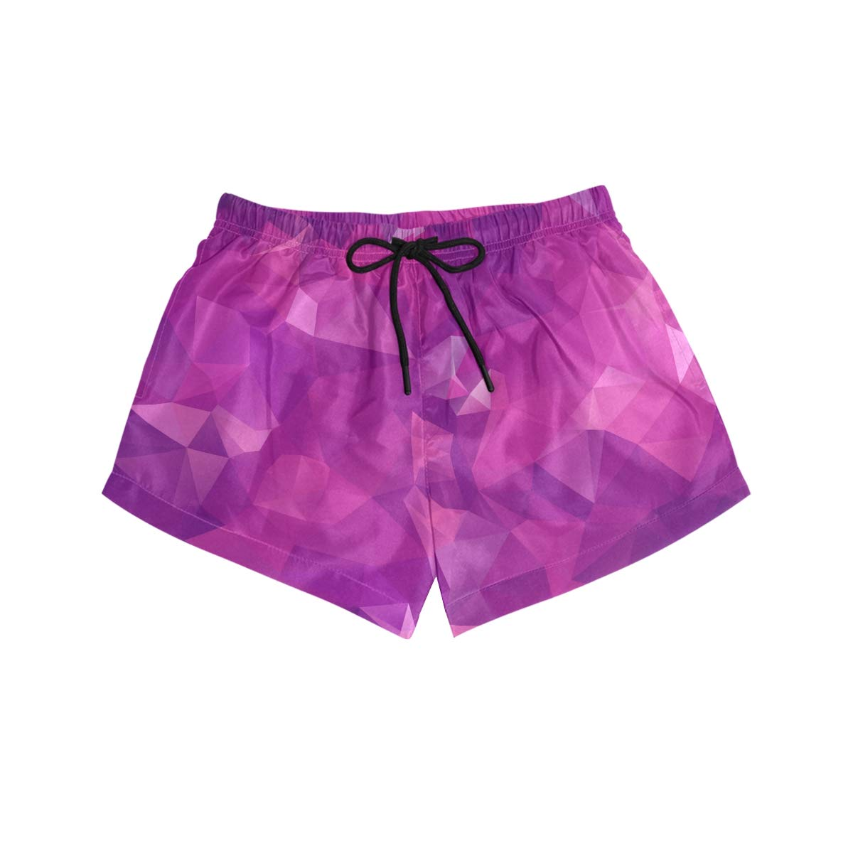 Abstract Purple Pattern Womens Sport Beach Swim Shorts Board Shorts Swimsuit with Mesh Lining