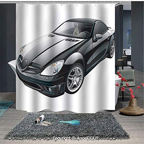 - AngelDOU Cars Printed Fabric Shower Curtain Black Modern Sport Car Drive Transportation Automobile Front View Collectors Home Decorations for Bathroom