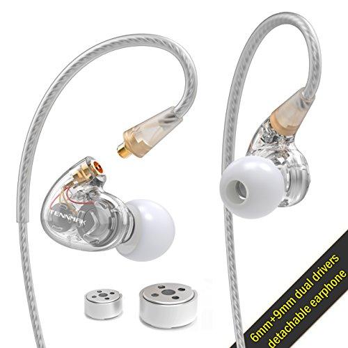 (Tennmak Pro Dual Dynamic Driver Professional Sport In Ear Detachable Earphone , MMCX Earphone with 4 driver inside - - Silver)