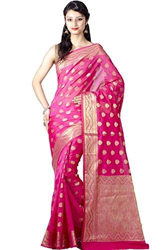 Bridal Sarees - Chandrakala Women's Banarasi Silk Saree Free Size Pink
