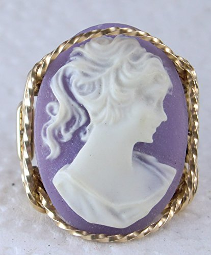 Child Cameo Ring - Pony Tail Girl Large Purple Cameo .925 Sterling Silver Ring or 14k Gold gf Art Jewelry HGJ
