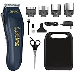 WAHL Clipper Lithium Ion Deluxe Pro Series Rechargeable Pet Grooming Kit - Low Noise Cordless Electric Shaver for Dog & Cat Trimming with Heavy Duty Motor - Model 9591-2100