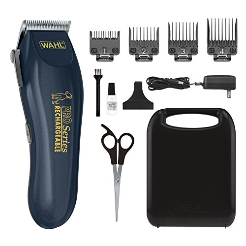 WAHL Lithium Ion Deluxe Pro Series Rechargeable Pet Clipper Grooming Kit with Low Noise & Heavy Duty Motor for Cordless Electric Trimming & Shaving Dogs - Model 9591-2100