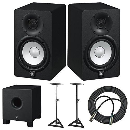 Yamaha HS5 70 Watt Professional Powered Studio Monitor Speaker (2-Pack) with Yamaha HS8 Studio Subwoofer + Pair of Adjustable Studio Monitor Stands + Adjustable Studio Monitor Stand