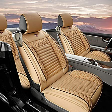 Custom Car Seat Cover for Hummer H1 H2 H3 5-Seat Car Seat Cushion Cover Full Set Needlework PU Leather Luxury Set Brown