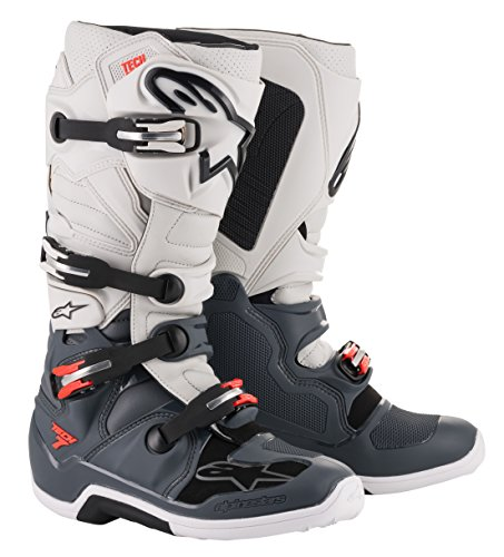 Alpinestars Tech 7 Off-Road Motocross Boot (8 US, Dark Gray Light Gray Red)