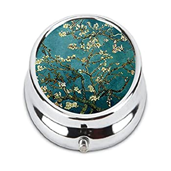 OceanArt Custom Blossoming almond tree Unique Silver Tone Round Pill Box Medicine Tablet Organizer or Coin Purse