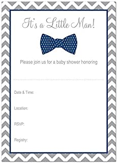 Amazon 25 our little man mustache baby shower invitations 4 x 6 24 cnt little man bow tie fill in baby shower invitations navy filmwisefo Image collections