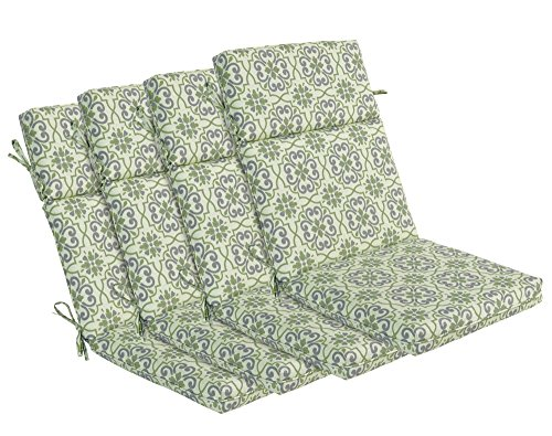 Adirondack Lounge Chair Set (Bossima Indoor/Outdoor Green/grey Damask High Back Chair Cushion, Set of 4,Spring/Summer Seasonal Replacement Cushions.)
