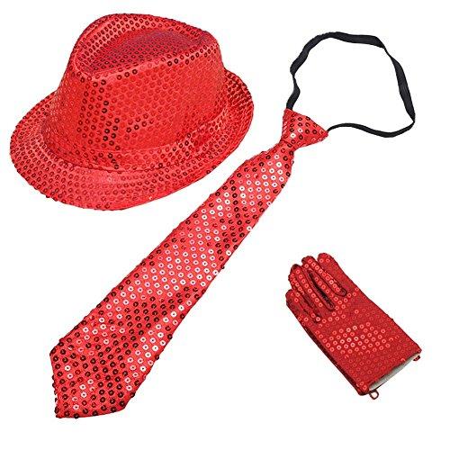 CHUANGLI Kids Sequins Fedora Hat Jazz Hat & Glitter Gloves & Necktie Dance Cap Solid Jazz Hat Party Glitter (Glitter Fedora Hats)