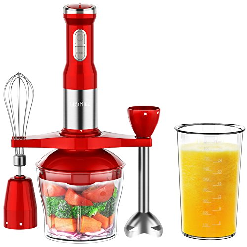 HOMIEE Hand Blender 5-in-1 Immersion Blender Stick with 15-Speed Controll and Turbo for Baby Food & Kitchen Use, Including Stainless Chopper, Egg Whisk, 800ML BPA-Free Beaker & Storage Bracket, Red