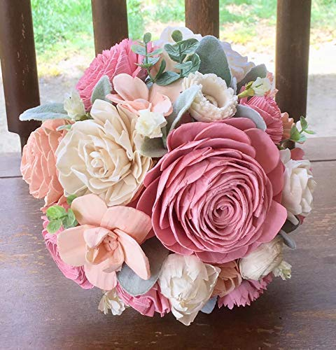 Sola Wood Flower Bouquet, Pink, Peach, Ivory, Sola Wooden Wedding Bouquet, Lambs Ear, Eco Friendly, Forever Flowers by Gigi