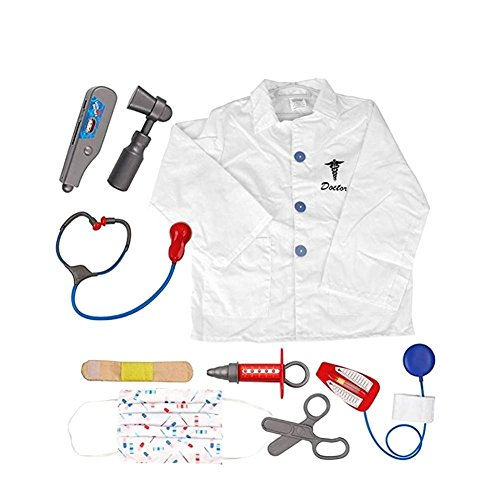 per Kids Occupation Costume Set Pretend Role Play Dress up Kit with Accessories for 3-6 Years Old Toddlers-Doctor