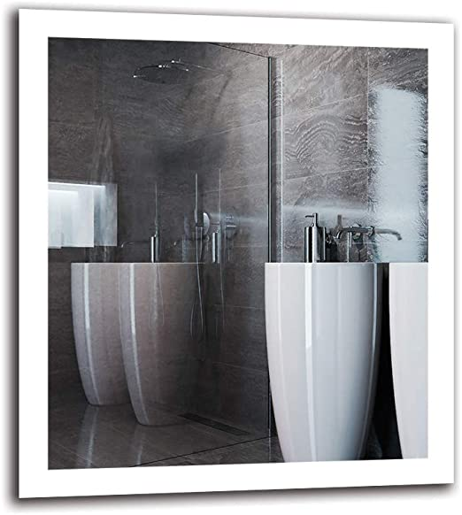 Espejo LED Premium - Dimensiones del Espejo 80x90 cm - Espejo de ...