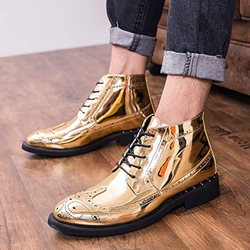 Para De Noche Moda Y Cuero Gran Temperamento Gold Boda fiesta Oxfords Tamaño Zapatos Hombres Estilista RTvwRqd