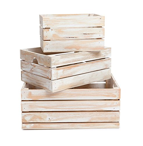 Winship Stake and Lath, Inc. Rustic Decorative Wood Crates (Set of 3) - White Wash Distressed