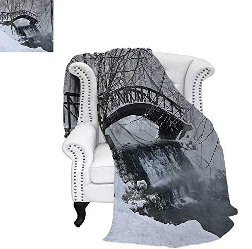- Oversized Travel Throw Cover Blanket Snow Season Photography Small Wooden Bridge Over Very Cold River at Early Morning Super Soft Lightweight Blanket 62