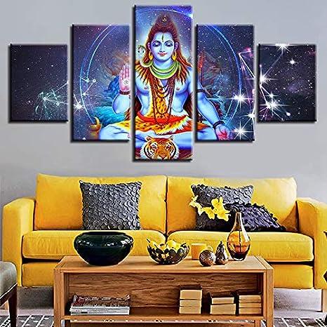 CXZZV Cinco módulos, pinturas decorativas 150x90CM Dios hindú Shiva y el paisaje de la constelación Cuadro en Lienzo Impresión de 5 Piezas Material Tejido no Tejido Impresión Gráfica Sala de estar Art