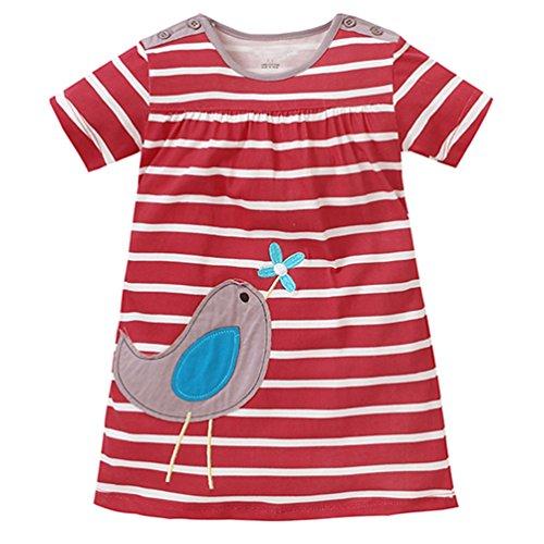 Lyxinpf Little Girls Dresses Cotton Short Sleeve Cartoon Animal Stripe T-Shirt Dress A 6 (School Tee Toddler)