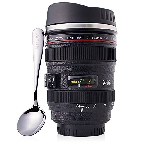 Price comparison product image Coffee Mug - Camera Lens Thermos - 13oz Cup - Stainless Steel Insulated
