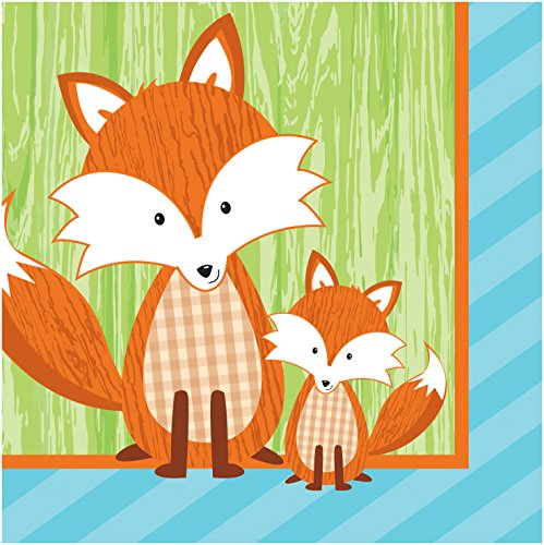 (Creative Converting 16 Count 2 Ply Forest Fox Beverage Napkins, Brown/Green)