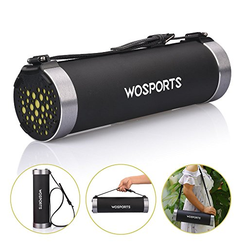 Wosports Bluetooth Speakers 14.3Inch HiFi Stereo Wireless Portable Indoor/Outdoor Cylinder Speaker Built-in Subwoofer(2.1 Channel Soundbar,PU Leather Wrapping and Aluminum-Alloy)