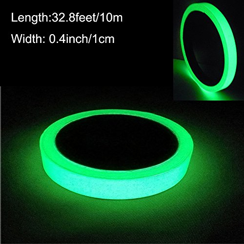 Photoluminescent Safety Tape - ARTGEAR Glow in the Dark Self-adhesive Tape, Green Light Luminous Tape Sticker, 32.8 ft x 0.4 inch (10m x 1cm): Waterproof, Removable, Durable, Wearable, Stable, Safety