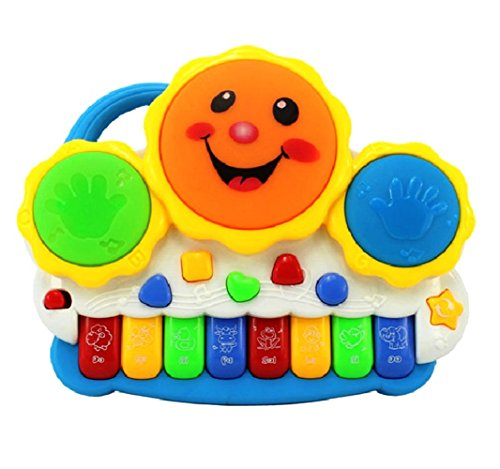 SahiBUY Drum Keyboard Musical Toys with Flashing Lights – Animal Sounds and Songs Multi Color