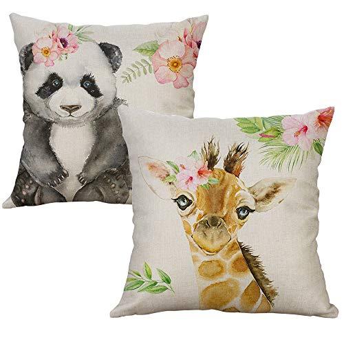 LEVOSHUA 2 Pack Animals Cotton Linen Pillowcase Throw Pillow Case Cushion Cover Pillowcase Home Decorative for Sofa 18