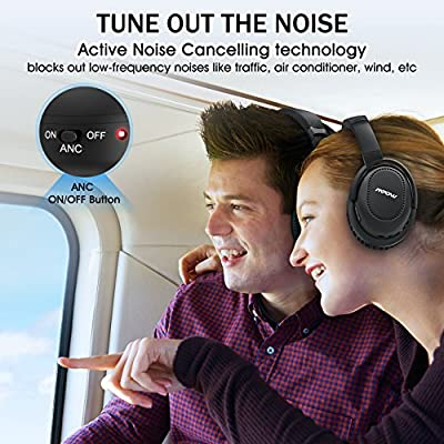 Mpow H8 Active Noise Cancelling Bluetooth Headphones Over Ear/On Ear Compact, Both Wired & Wireless Headphones w/ mic, Stereo Foldable Headset with Carrying Case for PC/ Cell Phones/ TV
