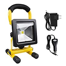 Morpilot® LED Work Light Outdoor Floodlight Rechargeable Waterproof IP65 ,10W Halogen Bulb Equivalent,Adapter and Car Charger Included for Traveling Camping Fishing