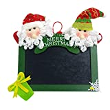 baskuwish Christmas Wooden Square Blackboard Hanging Tags for DIY Christmas Tree Door Decor (Green)