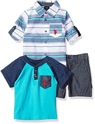 U.S. Polo Assn. Baby Boys Long Sleeve Woven Shirt, T-Shirt and Short Set, Stripe Woven Blue Pocket Tee Multi Plaid, 18M - Multi Stripe Woven Shirt