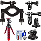 """PRO-mounts PMGP66 Bike/Handlebar Large Tube Mount with 1/4"""" Thread Adapter + Tripod Kit for GoPro HERO, Sony Action Cam, Drift, Muvi, and most Cameras"""