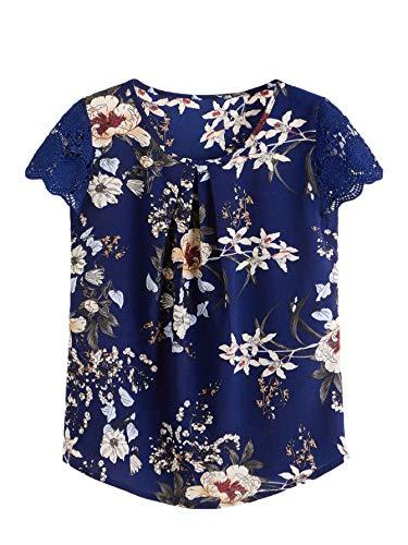 Milumia Women's Boho Flower Print Lace Sleeve Pleated Cap Sleeve Work Blouse Top
