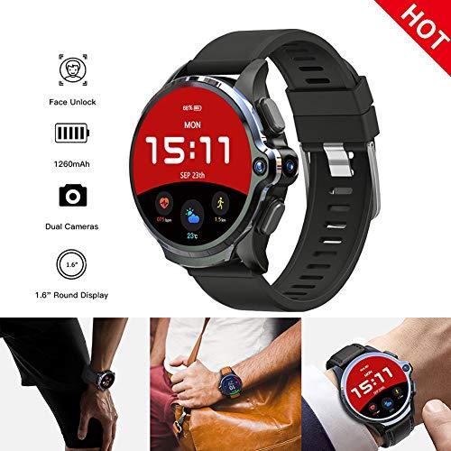 MROSW 3GB 32GB Smart Watch Men 1260Mah Battery Dual Camera Face ID Unclok 1.6″ 4G Android Smartwatch GPS Wifi Sim Card