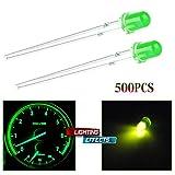 cciyu Pack of 500pcs 3mm 3V Green LED Light Bulb Emitting Diode Lamps BE