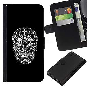 Stuss Case / Funda Carcasa PU de Cuero - Patrón Negro Blanco Cráneo de la muerte - Sony Xperia Z2 D6502