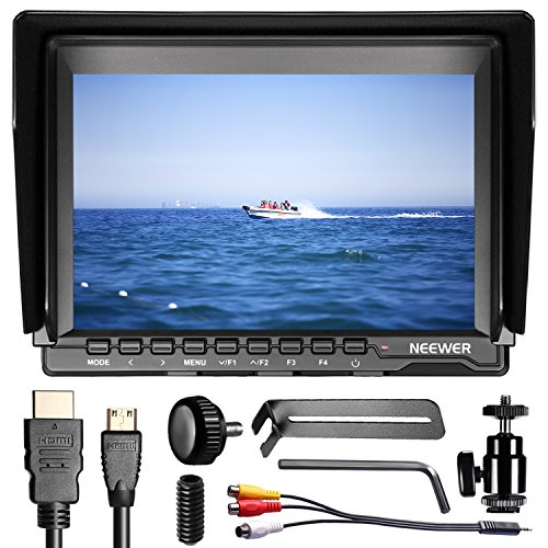 (Neewer NW74K 7 Inch Ultra HD 4K 1280x800 IPS Screen Camera Field Monitor, 16:10 or 4:3 Adjustable Display Ratio for Sony Canon Nikon Olympus Pentax Panasonic Cameras (Power And Battery)