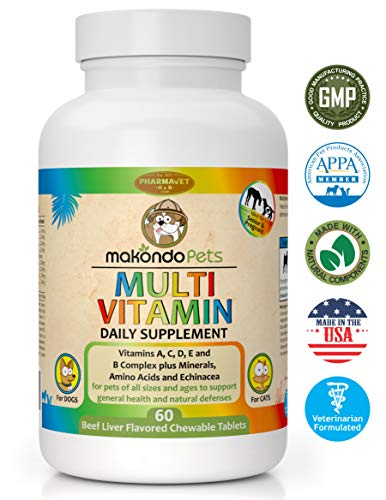 Makondo Pets Multivitamin for Dogs and Cats (60 Tablets) Puppy, Kitten, Pregnant Adults, and Senior Animals | Vitamins, Minerals, Amino Acids, Calcium | Pure, Natural