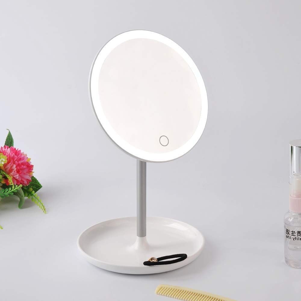 STARPIE Round Lighted Vanity Makeup Mirror with Rechargeable Natural White LED Daylight, Detachable, Storage Base, Touch Control, 360°Rotation and Dimmable Light Control By Touch Screen