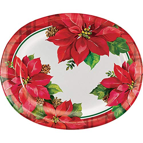Creative Converting 332051 Poinsettia Oval Plates, Red
