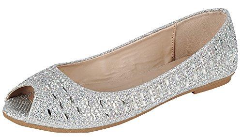 Silver Flat Shoes - Cambridge Select Women's Peep Toe Crystal Rhinestone Glitter Slip-On Ballet Flat,9 B(M) US,Silver